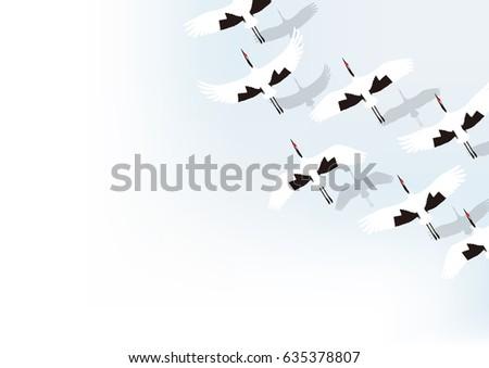 winter flock of cranes