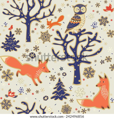 Stock Photo Winter forest background. Seamless pattern with owl, foxes, squirrel, birds, trees and snowflakes. Vector illustration.