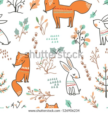 Winter forest background with animals and trees. Seamless pattern.