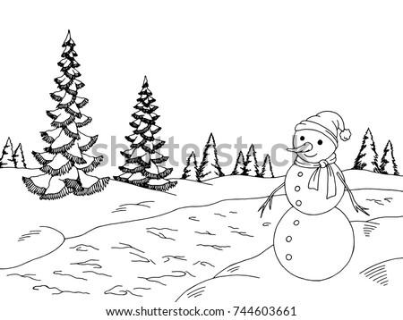 winter forest graphic snowman