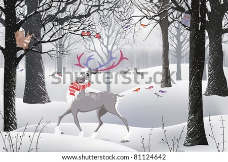 Winter forest in which there are a reindeer, a squirrel sitting on a tree and birds