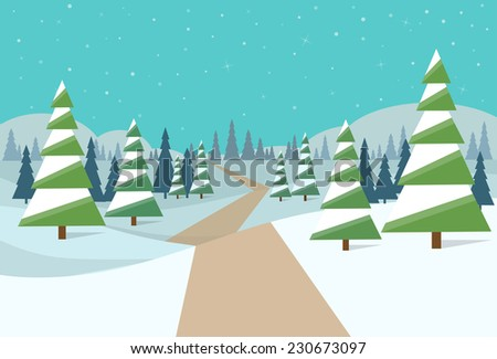winter forest landscape Christmas background pine snow trees woods vector illustration
