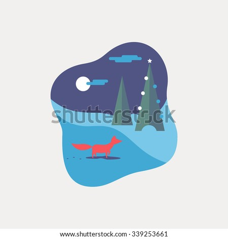 Winter forest landscape flat background. Simple and cute nature icon with a fox.