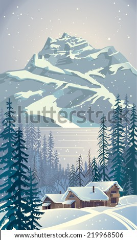 Winter forest landscape with trees.