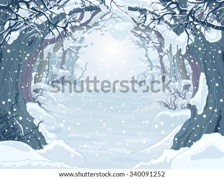 winter forest landscape with