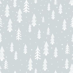 Winter forest scandinavian hand drawn seamless pattern. New Year, Christmas, holidays gray texture with fir tree for print, paper, design, fabric, decor, gift wrap, background. Vector illustration