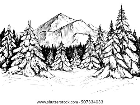 winter forest sketch black and