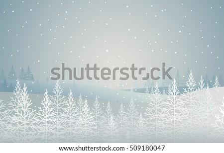 winter forest. snow-covered spruces on hill. landscape. christmas theme