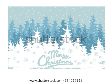 winter forest, vector, snowy forest