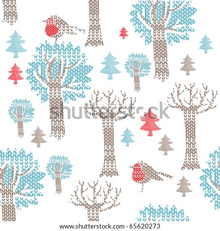 Winter forest with birds. seamless pattern