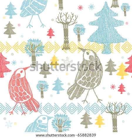 Winter forest with birds. seamless pattern - stock vector