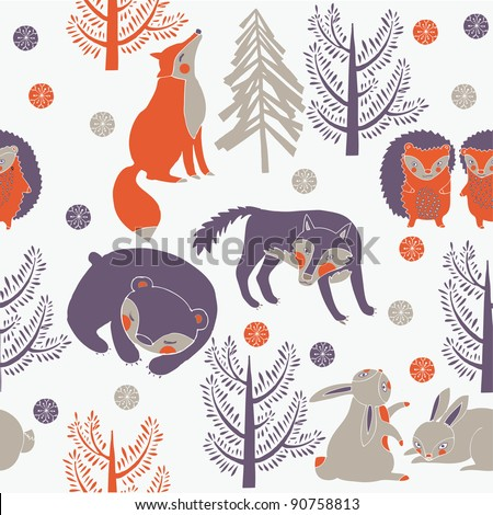 Winter forest with cute animals