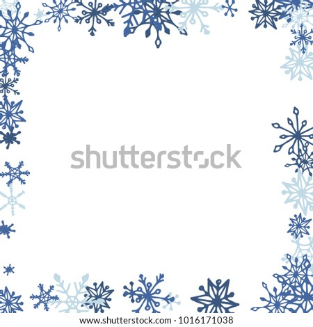 winter frame with cute doodle snowflakes blue christmas background pretty new year background