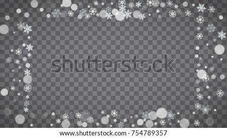 Winter frame with white snowflakes for Christmas and New Year celebration. Horizontal winter frame on transparent background  for banners, gift coupons, vouchers, ads, party events. Falling snow