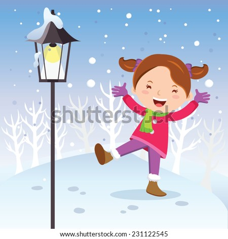 winter fun girl with lamp post
