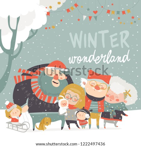 Winter fun. Happy family at winter vacation