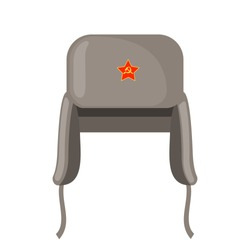 Winter fur grey earflaps hat with red star icon in flat style isolated on white background. Ushanka symbol. Russian traditional national cap. Vector illustration.