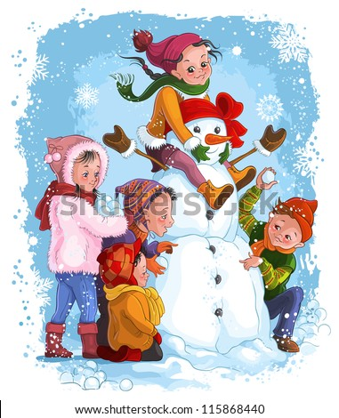 Winter games, children and snowman. Christmas holiday and winter vector illustration. Also available raster version