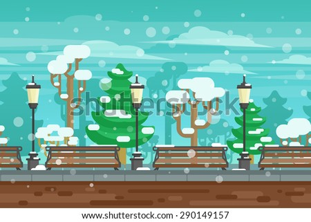 Winter garden landscape with lanterns and benches under snow doodle poster vector illustration