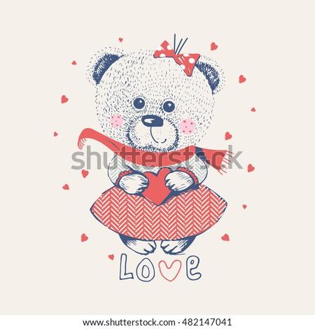 winter girl bear hand drawn
