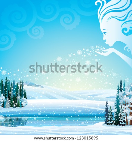 winter girl blows snowflakes in
