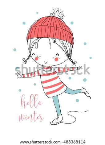 winter girl skating funny