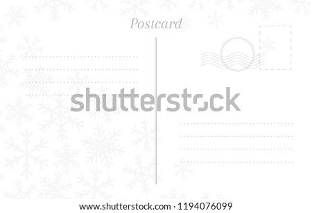 Winter greeting postcard back template with snowflakes, stamp and a place for a postmark
