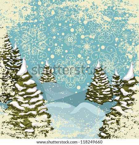 Winter grungy postcard with snowy Christmas trees