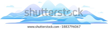 Winter hills and mountains in simple geometric forms view from afar isolated composition, nature tourism place in view from afar, travel adventure panorama of the snow mountain range Stock photo ©