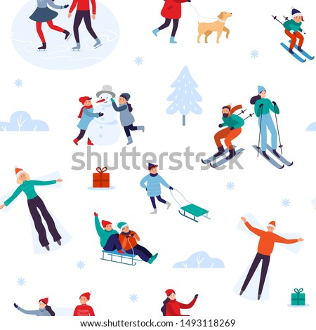 Winter holiday activities seamless pattern. Happy people walking outdoor, december holidays and winters snow fun. Xmas outdoors activity game, winter sport gift wrapping vector illustration