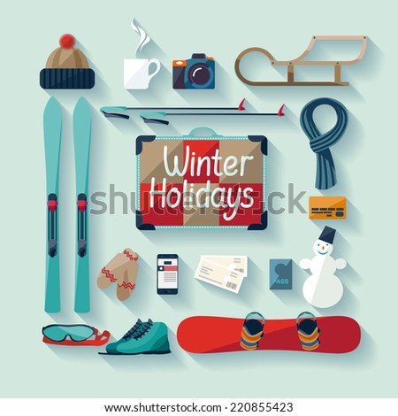 winter holiday flat design