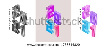 Winter holiday lettering typography logo set for New Year 2021 celebration. Isometric colorful numbers  isolated on white and grey background. Minimal Holiday decoration elements for modern design.