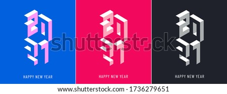 Winter holiday logo set for New Year 2021 celebration.  Modern bright Christmas design for banner, poster, calendar, postcard, greeting cards, invitations, flyer, sticker, stripe, web.