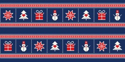 Winter Holiday Pixel Pattern with a Christmas Symbols. Snowflake, Christmas Tree, Present Box and Snowman Ornament. Vector Seamless Holiday Design Background