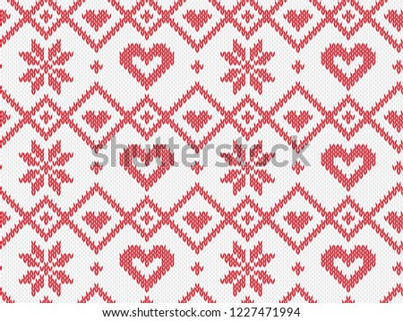 Winter Holiday seamless knitted pattern. Vector background for Merry Christmas and Happy New Yeary. Wool knitting sweater design with heart and snowflake. Illustration.