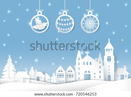 Winter holiday snow and ball decoration Christmas season paper art, paper cut style illustration.