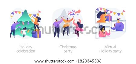 Winter holiday tradition abstract concept vector illustration set. Holiday celebration, christmas party, virtual holiday party, home decoration, corporate event, online greeting abstract metaphor.
