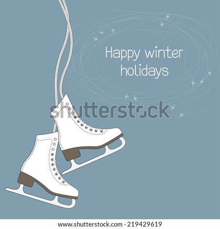 winter holidays card with ice
