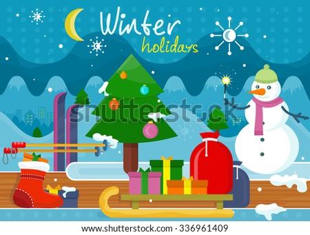 winter holidays concept design