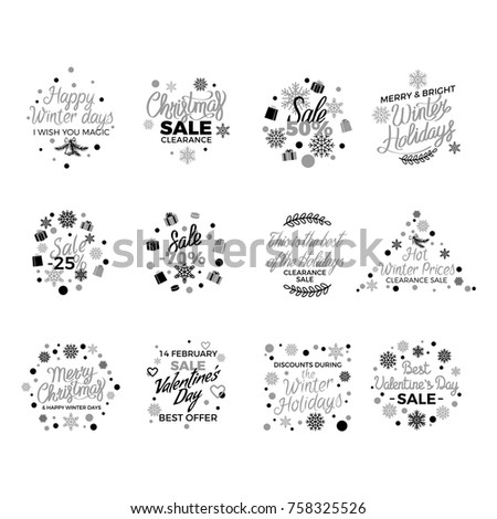 Stock Photo Winter holidays discount concepts big set with snowflakes, hearts, gifts  in monochrome color with elegant lettering on white. Christmas,  New Year and Valentines sales logos with gilded elements