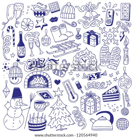 Winter holidays - doodles collection