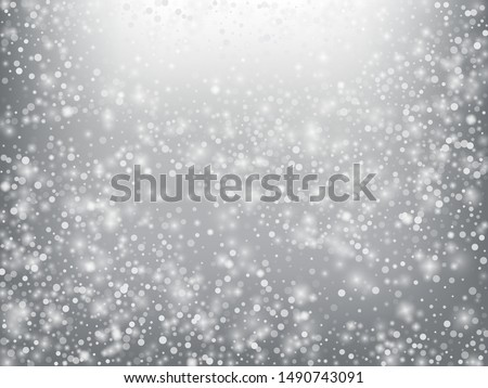 Winter Holidays Falling Snow Vector Background. Christmas, New Year Celebration Snowflakes Pattern. Realistic Flying Snow, Storm Sky Effect. Winter Ad Decoration. Winter Holidays Snow Confetti On Gray