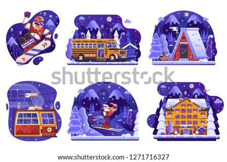 Winter holidays in mountains icons in flat gradient design. Skiing resort vacation scenes with snowboarder, funicular cable car, snow lodge cabin, skibus shuttle, ski hotel and snowboarding equipment.