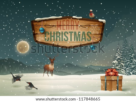 Winter holidays landscape with wooden sign. Vector Illustration.