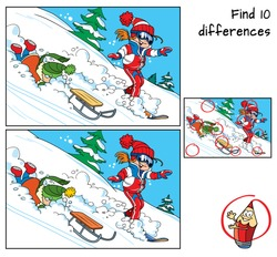 Winter holidays. Little girl is snowboarding and little boy is sledding . Find 10 differences. Educational matching game for children. Cartoon vector illustration