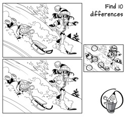 Winter holidays. Little girl is snowboarding and little boy is sledding . Find 10 differences. Educational matching game for children. Black and white cartoon vector illustration
