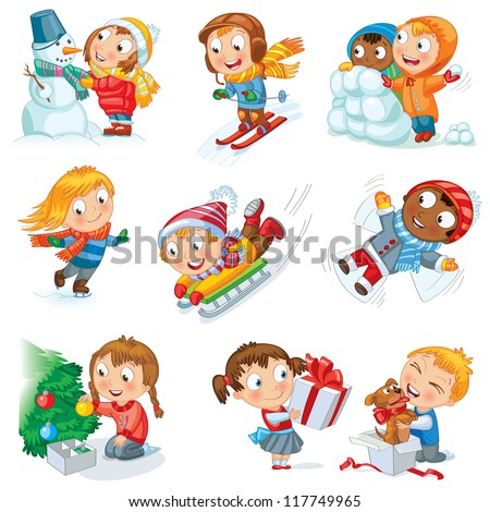 winter holidays little girl