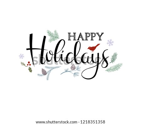 Winter holidays poster or greeting card with inscription and holiday traditional symbols.