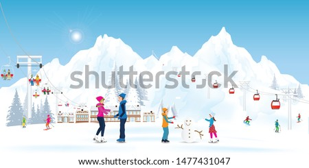 Winter Holidays Recreation Sport Activity. Ski Resort Landscape with cable cars or aerial lift and ski-lift on winter landscape with mountains and house and Characters Skiing and Snowboarding. Vector