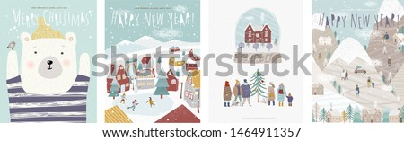 Winter holidays! Vector cute illustrations of nature, landscape, animal bear, houses, trees, family and people at the rink for the New Year and Christmas background